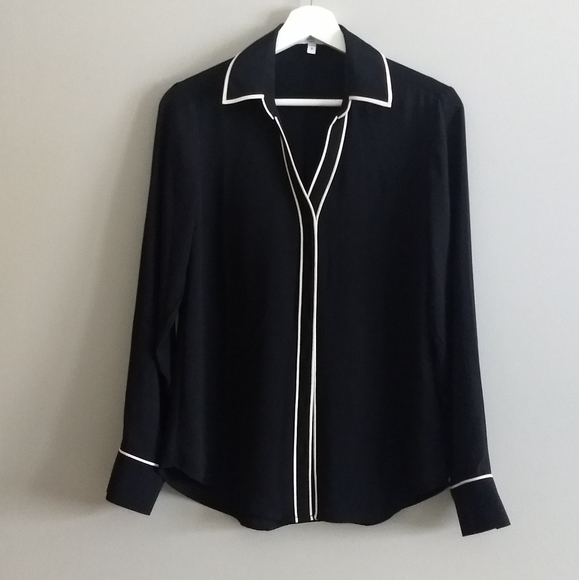 Express Black Blouse with White Detail